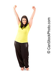 Diet Concept - Large woman very happy with the results of...
