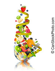 Diet concept, measuring tape and fork puts fruit salad on an isolated white background