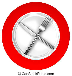 diet concept sign red and white with metal fork and knife...