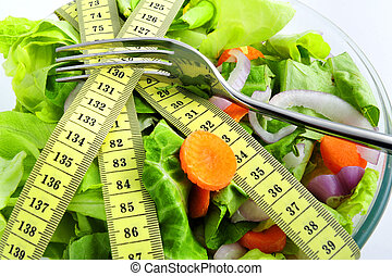 Diet concept - Conceptual assorted salad and tape...