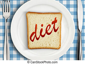Diet concept, Table setting with slice of bread on plate
