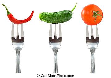 Vegetables on the forks