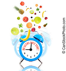 Diet concept with clock, scale dial and fruits