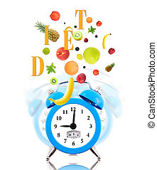Diet concept with clock, scale dial and fresh fruits