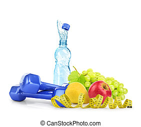 Diet concept with dumbbells, water, measuring tape and fruits isolated on white background