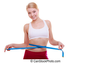 diet., condición física, mujer, ataque, niña, con, medida, cinta, medición, ella, cintura