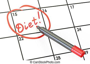 Diet date on calendar concept, 3D rendering