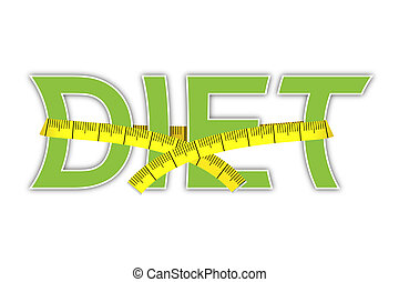 diet text with yellow measuring tape