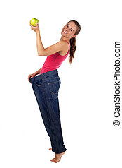 Diet effect. Women with too big trousers