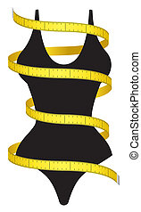 Diet figure - Measuring tape and female figure as a...