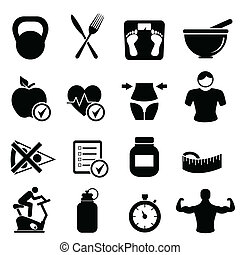 Diet, fitness and healthy living icon set