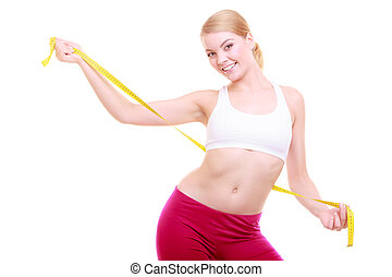 diet., fitness, vrouw, passen, meisje, met, maatregel,...