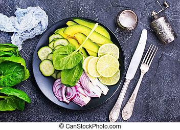 green food - diet food, avokado with spinach, green food