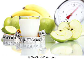 diet food milk glass, fruit Apple meter scales