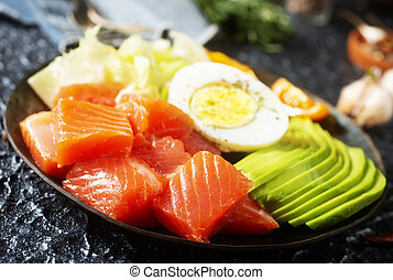 diet food on plate, portion of fresh salmon and avocado