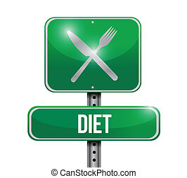 diet food sign illustration design