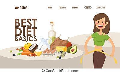 Diet for weight loss, website design vector illustration....