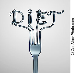 Diet Fork - Diet fork symbol as dinner utensil shaped as...