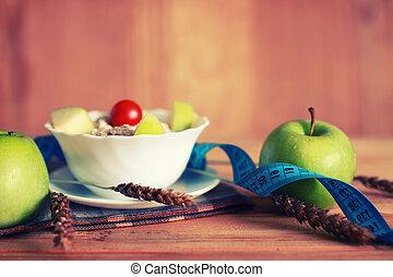 diet fruit apple centimeter wooden background