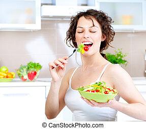 diet., gesunde, junge frau, essende, gemüse, salat