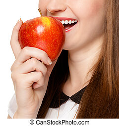 Diet. Girl eating biting apple seasonal fruit. - Diet and...