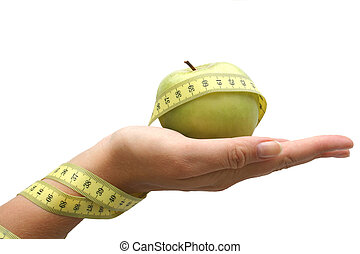 Diet Hand - Hand holding apple with measuring tape