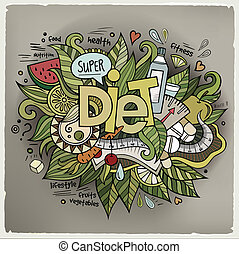 Diet hand lettering and doodles elements background