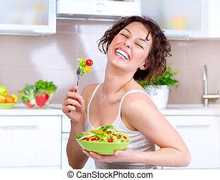 diet., hermoso, mujer joven, comida, vegetal, ensalada
