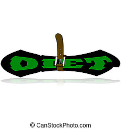 Diet icon - Cartoon illustration showing a belt tightened...