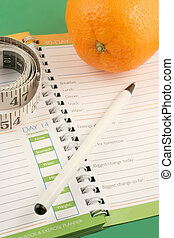 diet journal - writing in a diet and nutrition journal with ...