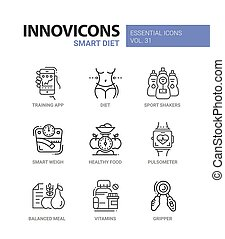 Diet - modern color vector single line icons set. Smart,...