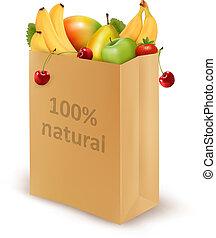 diet., naturel, papier, cent, frais, fruits., sac, entiers, vecteur, concept, 100