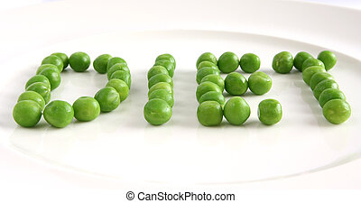 Word diet created from peas on a plate