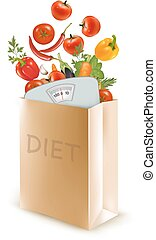 Diet paper bag with a scale and vegetables. Concept of diet, Vector.