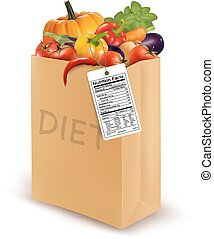 Diet paper bag with vegetables and a nutritional label. Concept of diet. Vector.
