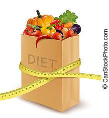 diet., papier, tape., légumes frais, mesurer, sac, vecteur, épicerie, concept