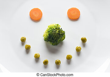 Diet - Happy face made from vegetables - diet concept
