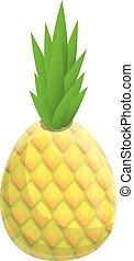 Diet pineapple icon, cartoon style