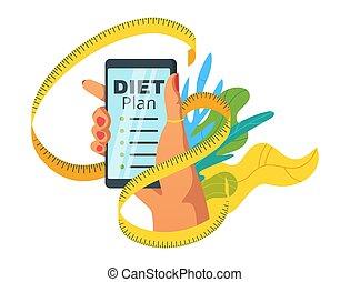 Diet plan app flat vector web banner template