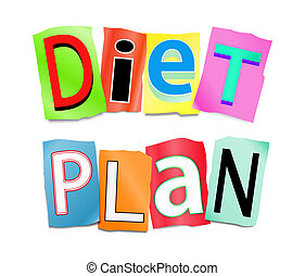 Diet plan concept. - Illustration depicting a set of cut out...