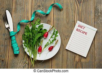 Diet plan, menu or program, tape measure, diet food on white...