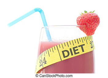 The word diet inscribed on a measuring tape wrapped around a healthy smoothie
