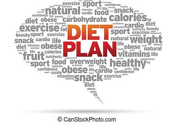 Diet Plan word speech bubble illustration on white...