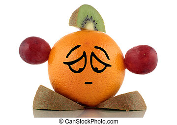 Diet problem. Funny fruits collection on white background