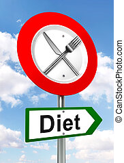 diet red and green road sign with fork and knife on sky...