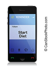 diet reminder phone illustration design over a white ...