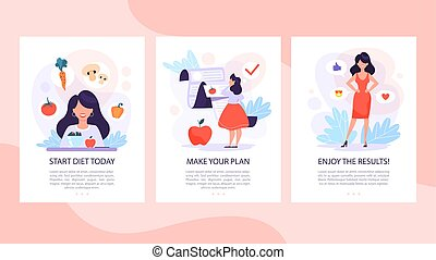 Diet set of mobile banner concept. Woman eat healthy
