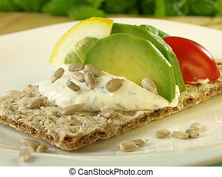 Diet slice of bread with avocado