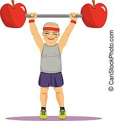 Diet Sport Senior Man Dumbbell