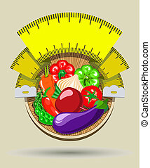 diet sticker with a measuring tape